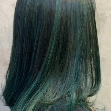 及肩層次啡綠highlight Wo Hairdresser