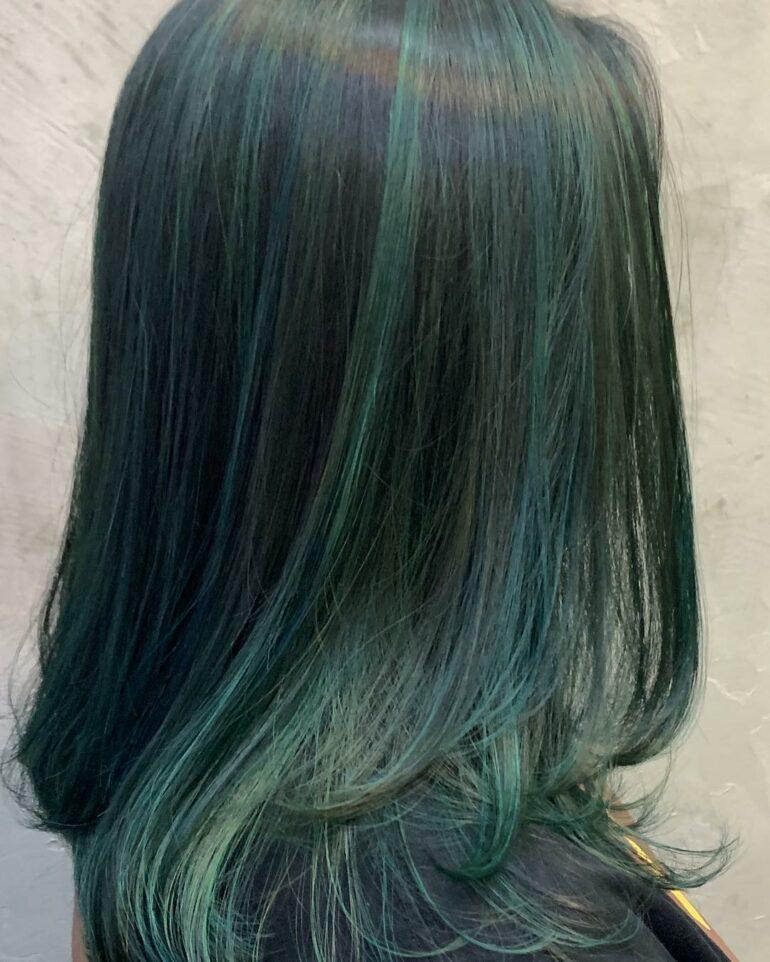 及肩層次啡綠highlight