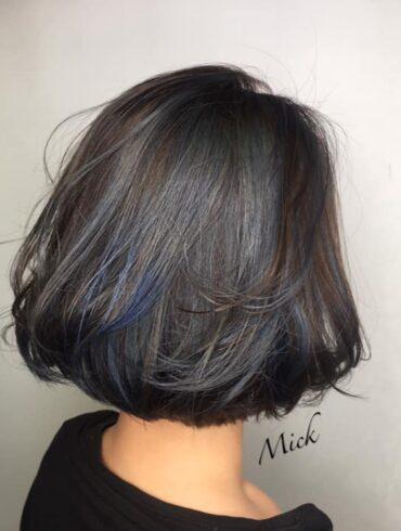 沉穩牛仔藍highlight短髮