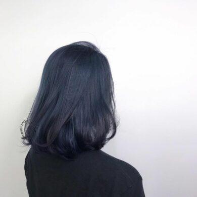 深沈灰藍微內捲bob頭 Keyo Hair