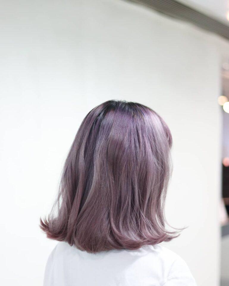 粉紫髮尾外捲bob